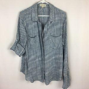 Cloth & Stone Navy Plaid Button Down Shirt XL 16